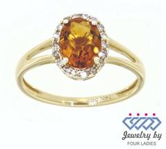 Citrin Edelstein 14K Gelbgold 1.04CT Echt Natürlich Halo Diamantring - $208.77