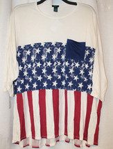 New Womens Plus Size 3X Red White & Blue Stars & Stripes Stretchy Tee Shirt Top - $15.61