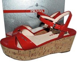 Prada RED Patent Leather Wedge Crisscross Sandal Mule Slingback Shoes 38.5 - $269.99
