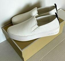 Neuf Michael Kors Teddi à Enfiler Nappa PU Perf Sneakers Taille 6 Blanc ... - $91.18