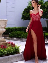 Burgundy A-Line Off-the-Shoulder Sleeveless High Side Split Lace Long Prom Dress - $179.00
