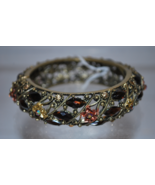 Antique Gold Tone Metal Bangle Bracelet with Deep Amber Colored Rhinesto... - $14.99
