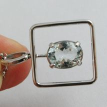 18K WHITE GOLD NECKLACE, OVAL CUT AQUAMARINE 1.80 ct PENDANT WITH SQUARE FRAME image 3