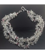 Gorgeous Clear Crystal Briolette Triple Strand Necklace Sterling Silver ... - $82.47
