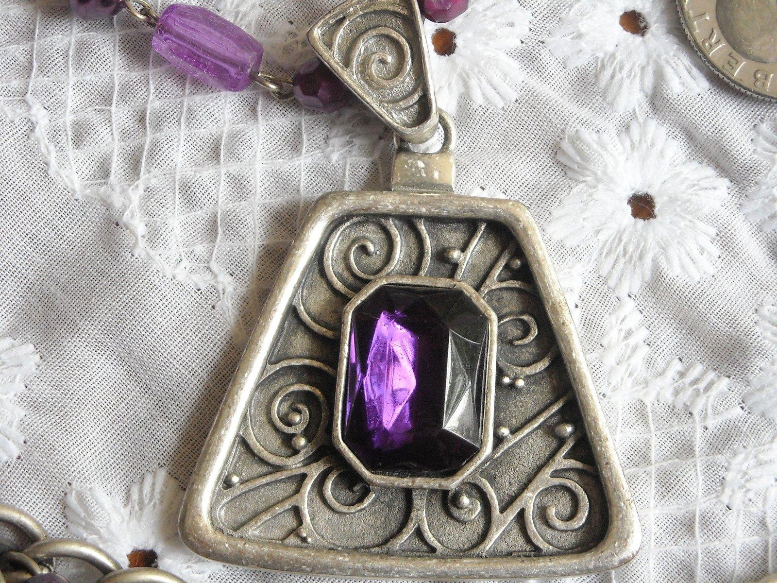Vintage Necklace & Dangle Charm Bracelet Faux Stone & Pearl Purple Rhinestone image 3