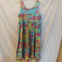 Girl Corky's Kids Dress Sz 8 Green Pink Floral Summer Shift Dress  - $14.03