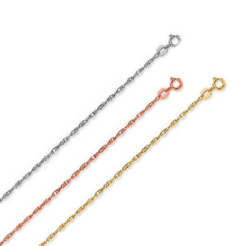 "14k Solid Yellow Rose White Gold 1 mm Thick Rope Chain - 13"" 15"" 16"" 18"" 20"" 22"""