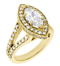 Halo Engagement Ring Setting for a Marquise Shape Diamond, 1.15CT Sides ... - $4,970.00