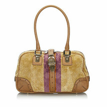 Pre-Loved Gucci Brown Beige Velour Fabric Horsebit Shoulder Bag Italy - $466.57