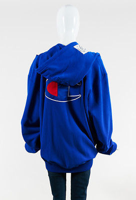 Vetements x Champion NWT Blue French Terry Open Shoulder In Progress Hoodie SZ S