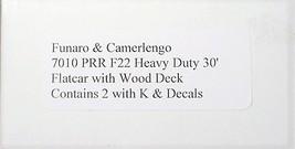Funaro F&C HO PRR F22 Heavy Duty 30' flatcar ,K brake 2 cars per Kit 7010 image 3