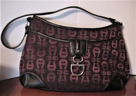 Etienne Aigner Purple Cloth Black Leather Designer Handbag Purse Silver Hardware - $65.00