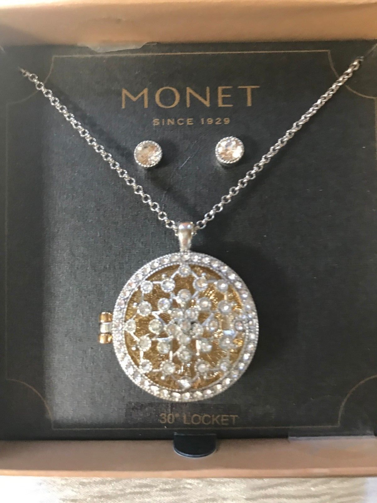 Estate Demi Monet Clear Rhinestone Encrusted Cut-Out Snowflake Round Locket Neck