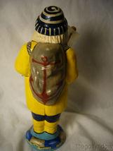 Vaillancourt Folk Art Sea Coast Santa in Yellow Slicker Holding Boat Signed image 3