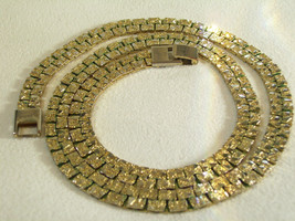 Gold NUGGET Style Link Necklace Plated Chain Vintage Classic Office Career - $14.84