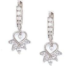 Women/Children's Gorgeous 14K Solid White Gold White Sapphire Dangle Earrings - $126.72