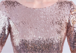 Long Sleeve Rose-Gold Maxi Sequin Dress Women Maxi Sequined Evening Wedding Gown image 9