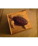 Wood Intarsia trinket box NEW with wood sea turtle on top - $39.59