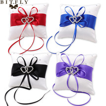 Wedding Rings Pillows Holder Satin Ribbon Bowknot Rhinestones Double Hea... - £11.82 GBP