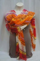 Collection Eighteen Shawl Red Multi Summer Citrus Frayed Acrylic Long Wr... - $19.71