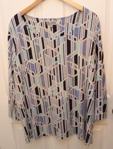 JM COLLECTION TOP Plus 3X Blouse Blue Tan Geometric Linear Print Tunic P... - $19.77