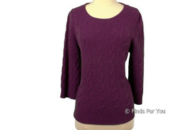 J. Crew Collection Cashmere Cable Sweater Xl 46703 Purple - $41.39