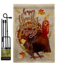 Happy Thanksgiving Turkey Burlap - Impressions Decorative Metal Garden P... - $33.97
