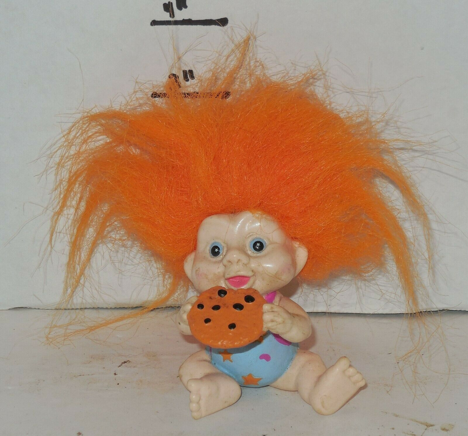 "Primary image for Vintage My Lucky Russ Berrie Troll 4"" Poseable Figure Orange Hair with cookie"