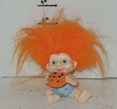"""Vintage My Lucky Russ Berrie Troll 4"""" Poseable Figure Orange Hair with cookie - $14.03"""