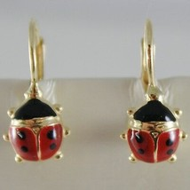 18K YELLOW GOLD PENDANT LEVERBACK KIDS EARRINGS GLAZED LADYBIRD MADE IN ITALY image 1