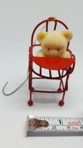 Teddy Bear on Red Metal Chair Highchair Christmas Ornament Flocked vintage - $15.79