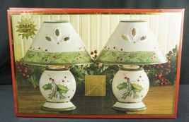 Lenox Holiday Gatherings Tea Light Lamps Set of Two In Box New - $49.95