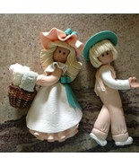 """2 Vintage Clay 1986 the bakery belles a Boy and a Girl Wall Hangable 7.5"""" - $88.11"""