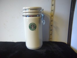 "Starbucks w/Mermaid Logo 2007 Collectible Porcelain Locking 7"" Storage Canister - $15.31"
