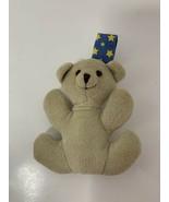 Goldbug mini teddy bear plush tan hanging baby crib toy blue yellow star... - $6.92