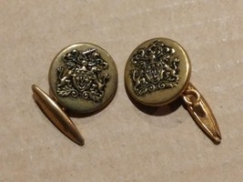 7282----VTG Coat of Arms cuff links with double lion and shield crest - $25.00