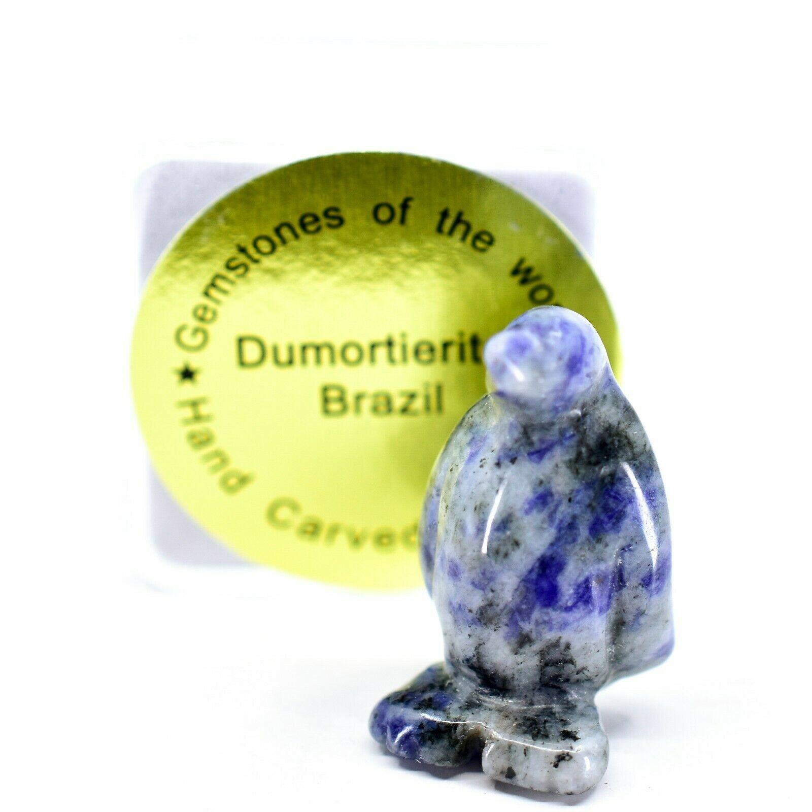 Dumortierite Gemstone Tiny Miniature Penguin Stone Figurine Hand Carved China
