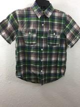Gap kids Boys Shirt size 8 Short sleeve button front Blue Green Plaid Easter - $10.39