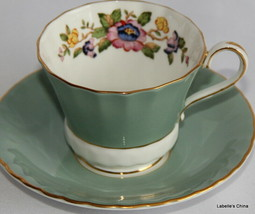 Hand Painted Summer Floral Tea Cup and Saucer Made in England by Aynsley... - $29.65
