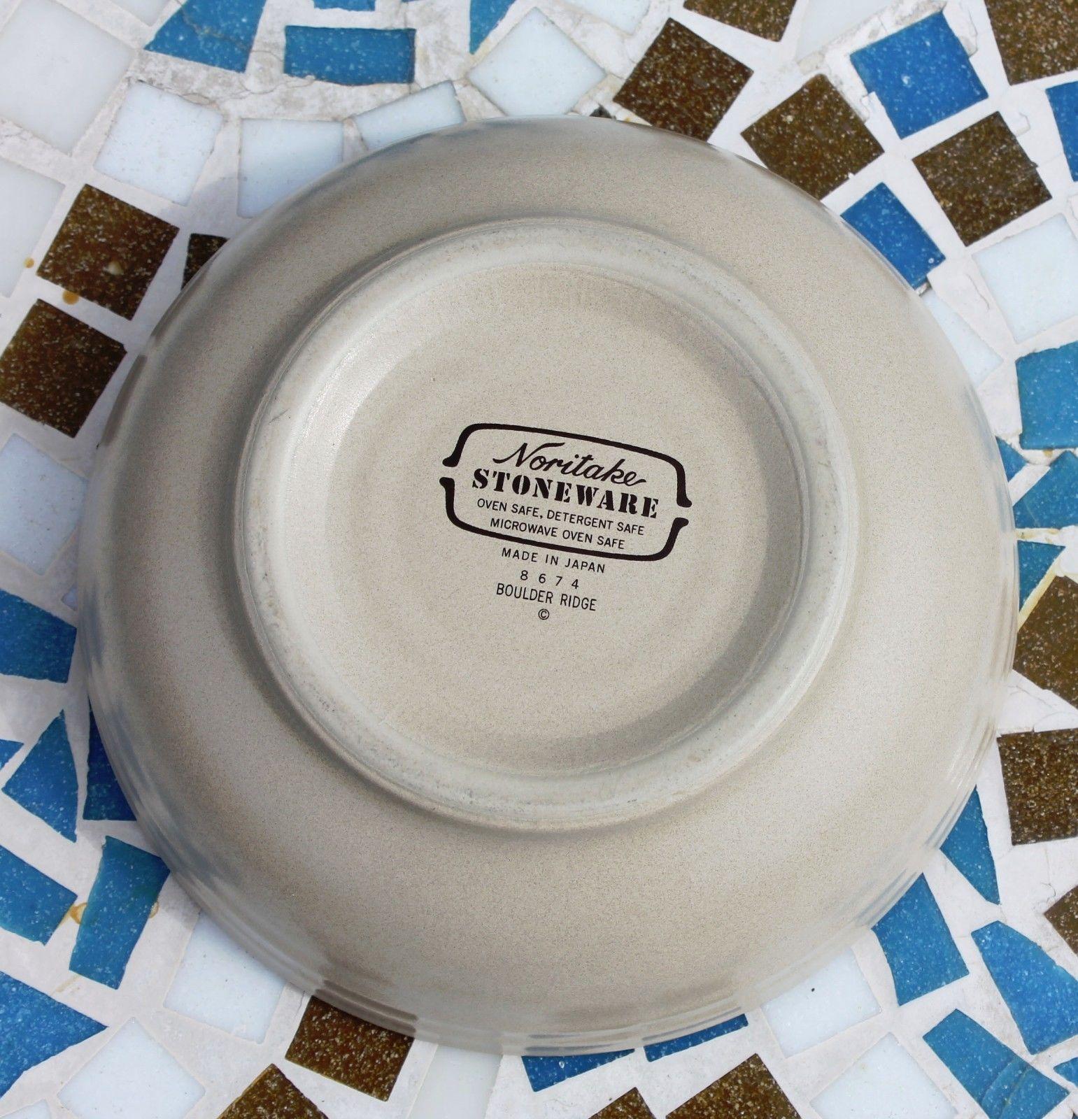 Noritake Stoneware Japan Dinner Plate & Cereal Soup Bowl Boulder Ridge Turquoise image 9