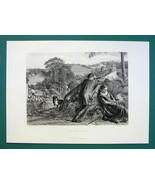 VILLAGE ROMANCE Rustic Lovers Quarrel Dog Watches - 1875 Antique Print E... - $13.49