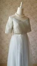 Light Gray Cap Sleeve Sweetheart Off Shoulder Floor Cocktail Dress Wedding Dress image 5