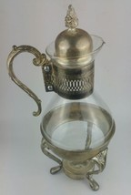 Vintage Silver Plate & Glass Coffee/Tea Carafe Pitcher w Footed Warmer S... - $20.53