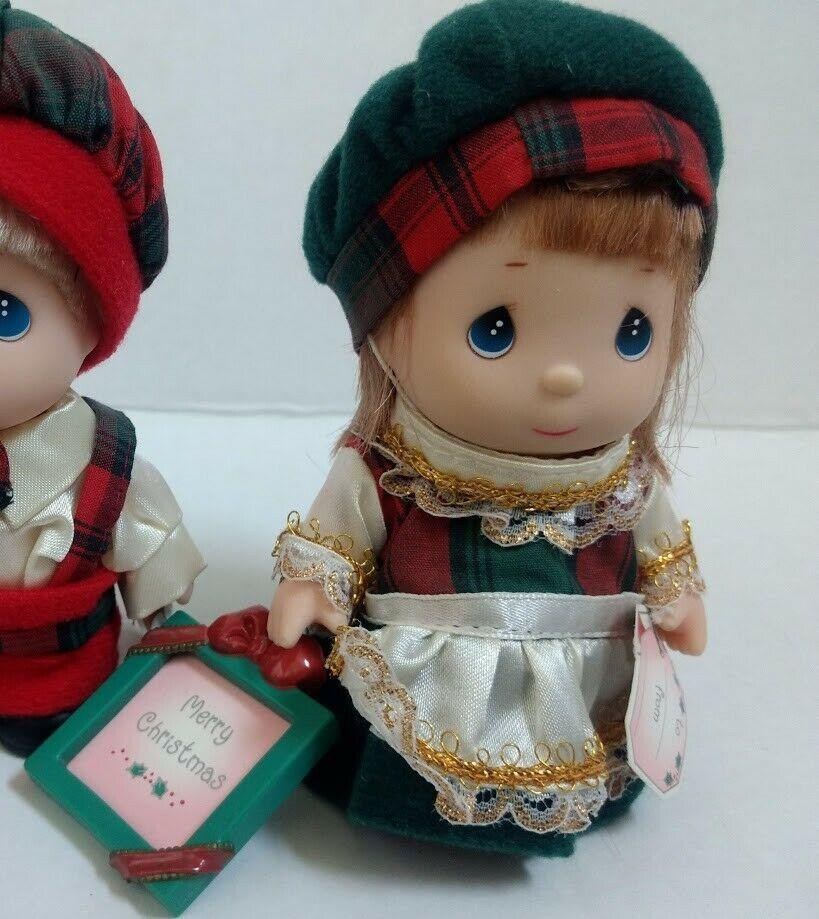 Vtg Precious Moments Mini Doll Set Christmas Outfit Photo Frame Boy Girl Holiday