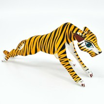 Handmade Alebrijes Oaxacan Wood Carving Painted Folk Art Orange Tiger Figurine
