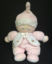 Carter's Just One Year Pink Plush Baby Doll Rattle Blonde Blue Eyes Bear... - $19.79