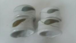 "Set of 4 Ceramic Stoneware Blue Green Leaf Napkin Rings 2"" Diameter 1 1/... - $14.84"