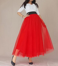 A Line Long Tulle Skirt High Waisted Red Long Tulle Skirt Puffy Tutu Pockets image 3