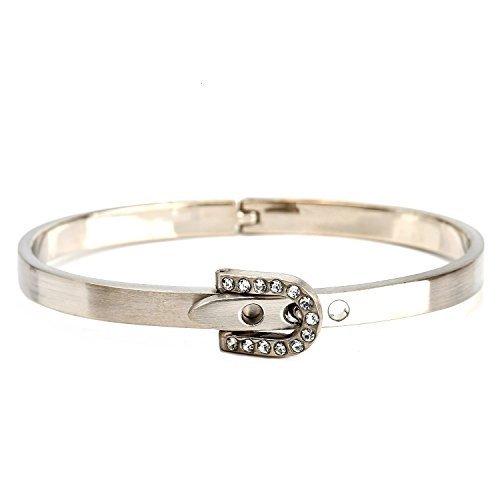 UE-Designer Silver Tone Bangle Bracelet, Buckle Clasp & Swarovski Style Crystals