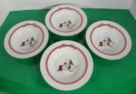 Anchor Hocking MEMORIES Soup Cereal Bowl (s) LOT OF 4 Christmas Tree Goose - $24.70